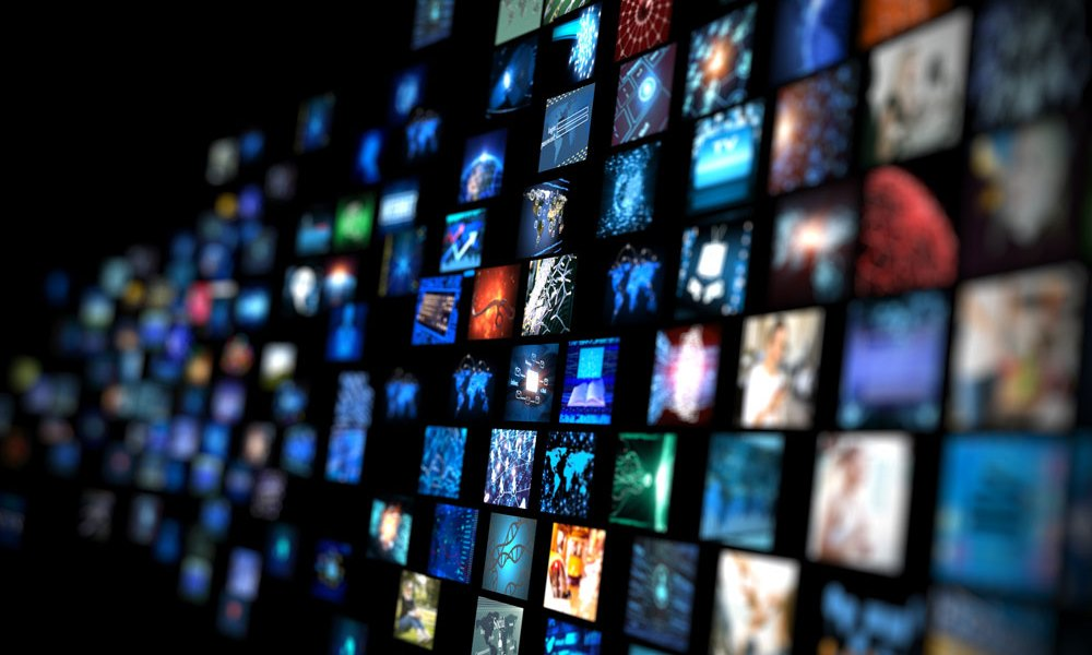 TV Media Wall of Broadcast Channels