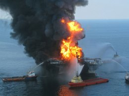 Deepwater Horizon on Fire - 2010
