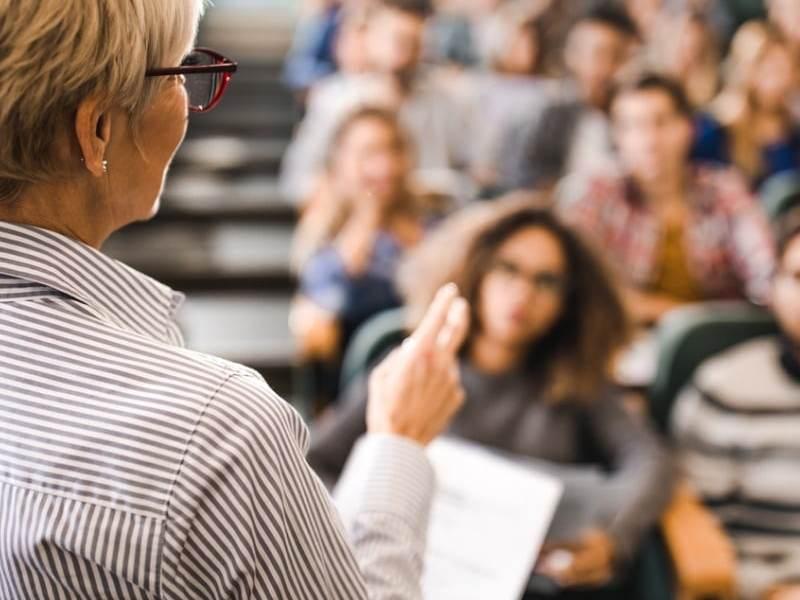 College Classroom - Mature Teacher