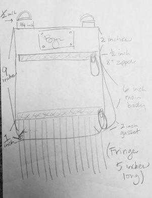 Original sketch of the new Kari side bag with fringe.