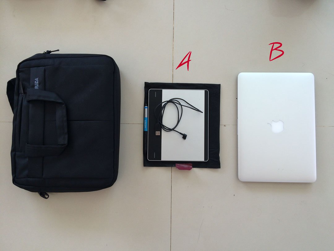 Laptop bag with computer and Wacom tablet