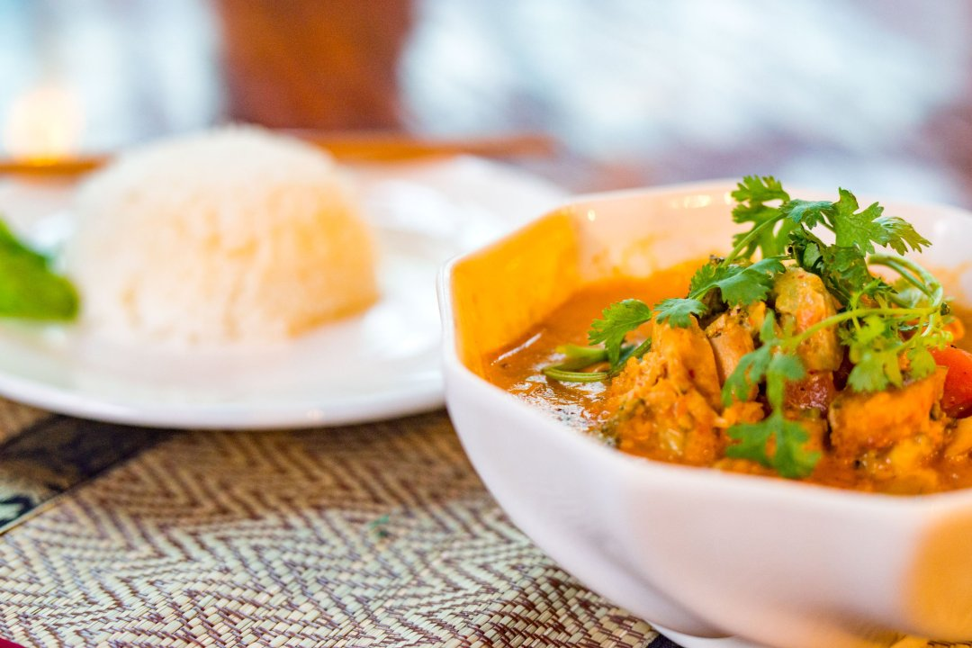 Photo of chicken curry and rice at Zuela's Guesthouse in Luang Namtha, Laos