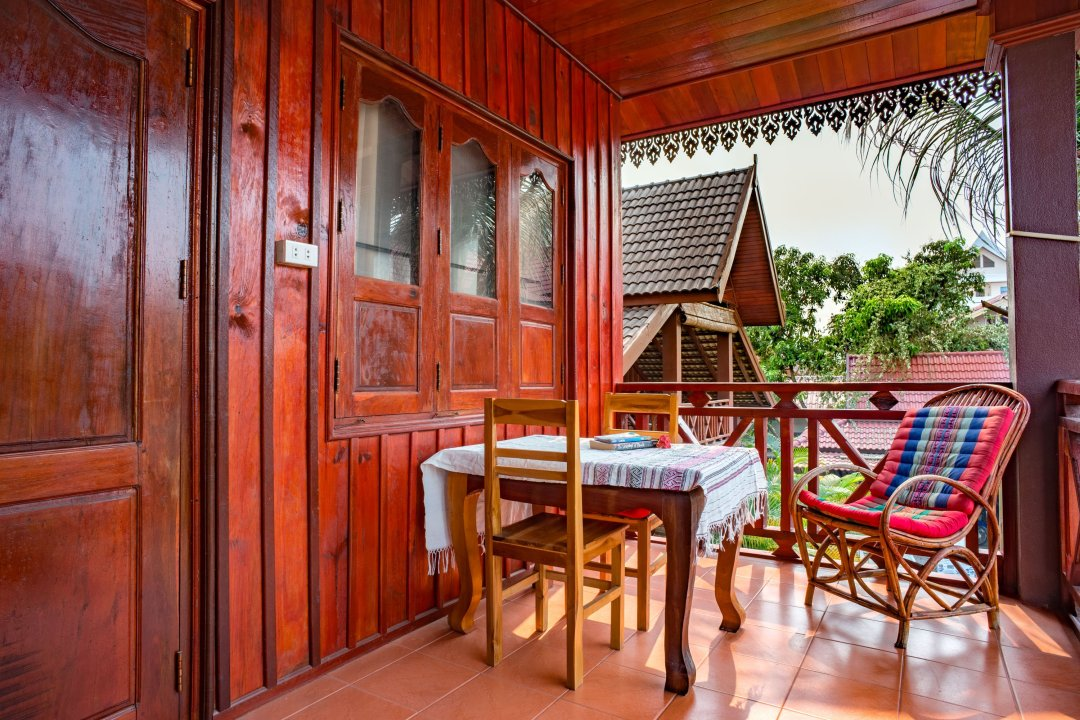Photo of the deck attached to one of the guest rooms at Zuela's Guest house in Luang Namtha, Laos