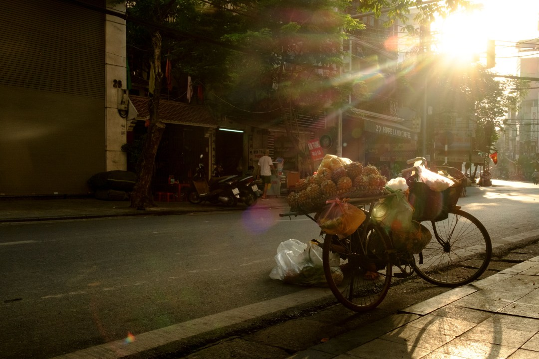 Bicycle loaded with produce, Old French Quarter, Hanoi, Vietnam