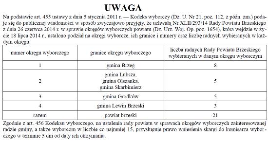 Ogłoszenie w sprawie okręgów wyborczych