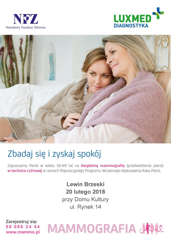 Bezpłatne badania mammograficzne - Lewin Brzeski