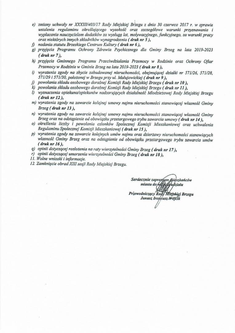 Og Oszenie O Sesji 2 - Zaproszenie Na Xiii Sesję Rady Miejskiej Brzegu Kadencji 2018-2023
