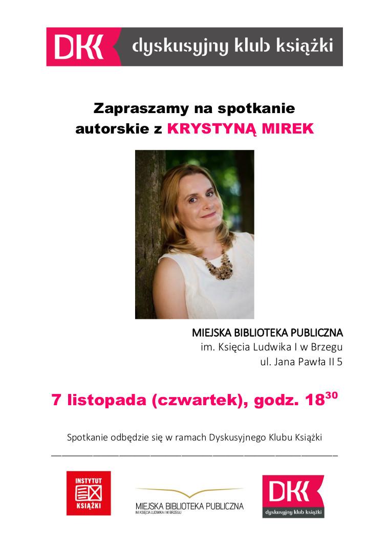 Dkk Plakat Mirek - Spotkanie Autorskie Z Krystyną Mirek