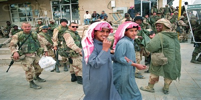 Young Saudi Boys and American Soldiers