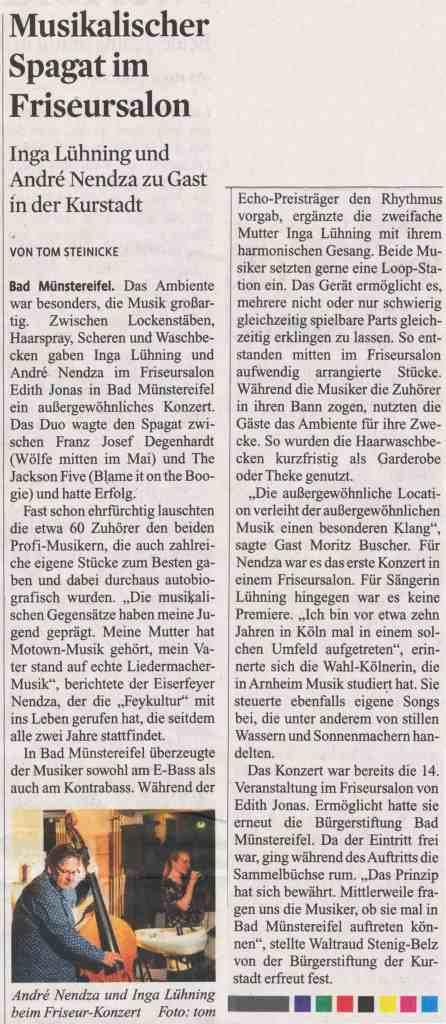 Presseartikel vom 04.11.20 zu Salonkonzerte