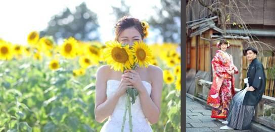 滋賀京都で和装前撮りロケーション洋装ドレス前撮り