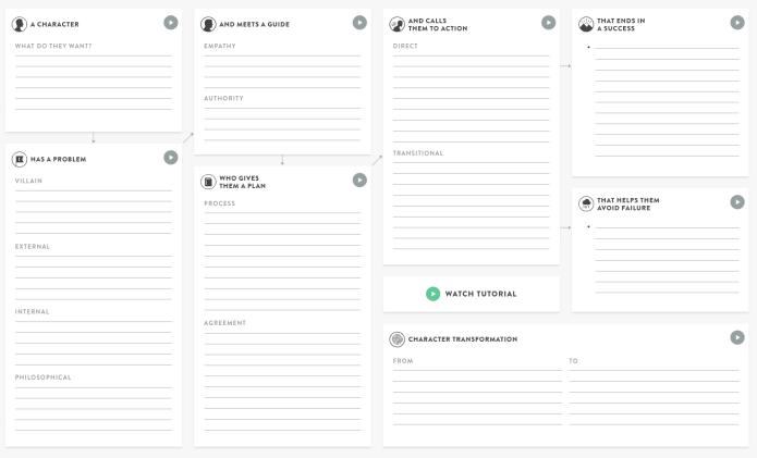 A StoryBrand framework worksheet