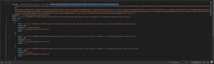 A screenshot of the unknown column error from GETting the api/articles route using Postman.
