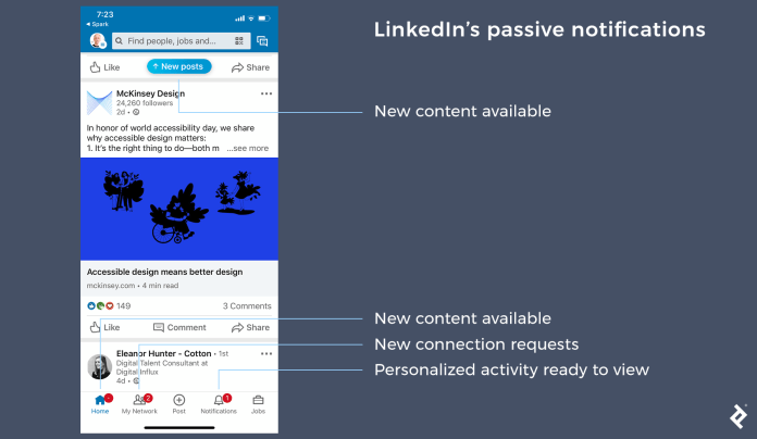 Notification design for LinkedIn notifications