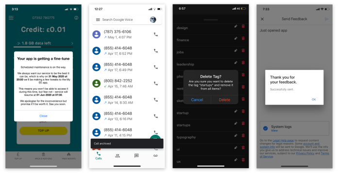 Notification ux design for Google voice mobile app notifications