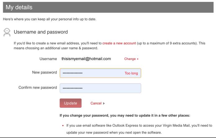 Reset password ux