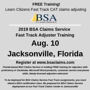 Jacksonville Florida Fast Track Training Aug  10 - BSA Claims