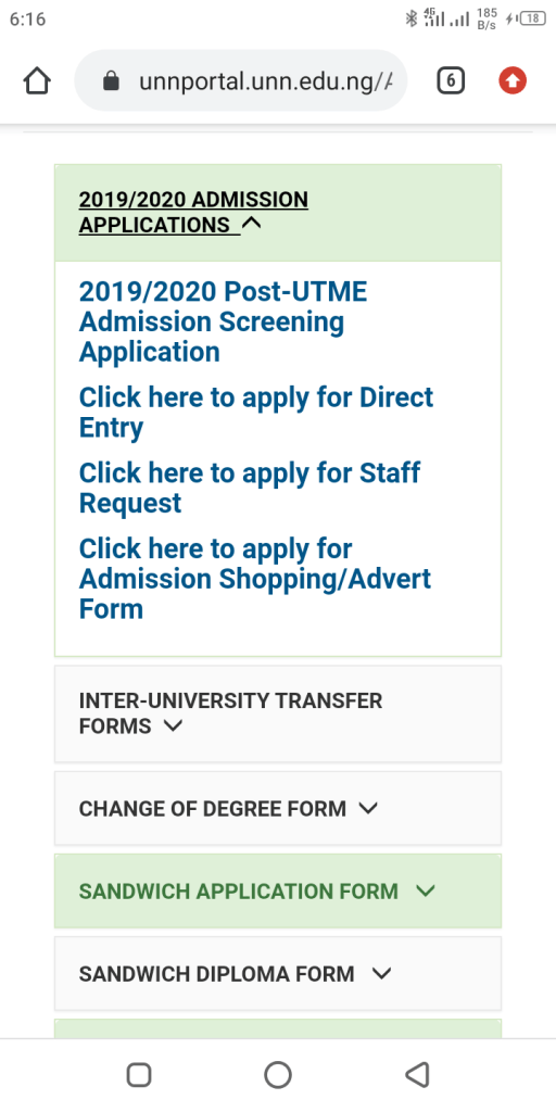 UNN post graduate form for 2020/2021 Direct Entry form for 2020/2021