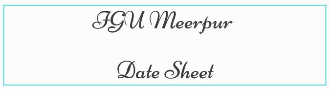 IGU मीरापुर डेट शीट 2021
