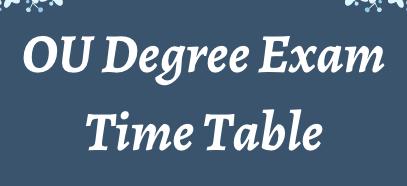 OU Degree Time Table 2021
