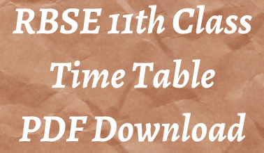 rbse 11th class time table 2021