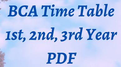 bca time table 2021