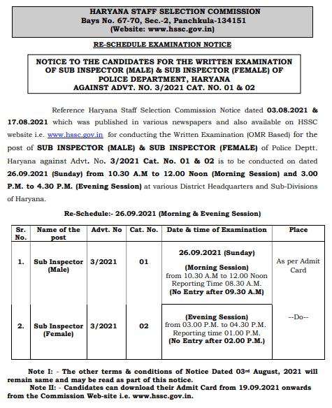 Haryana Police SI Admit Card 2021