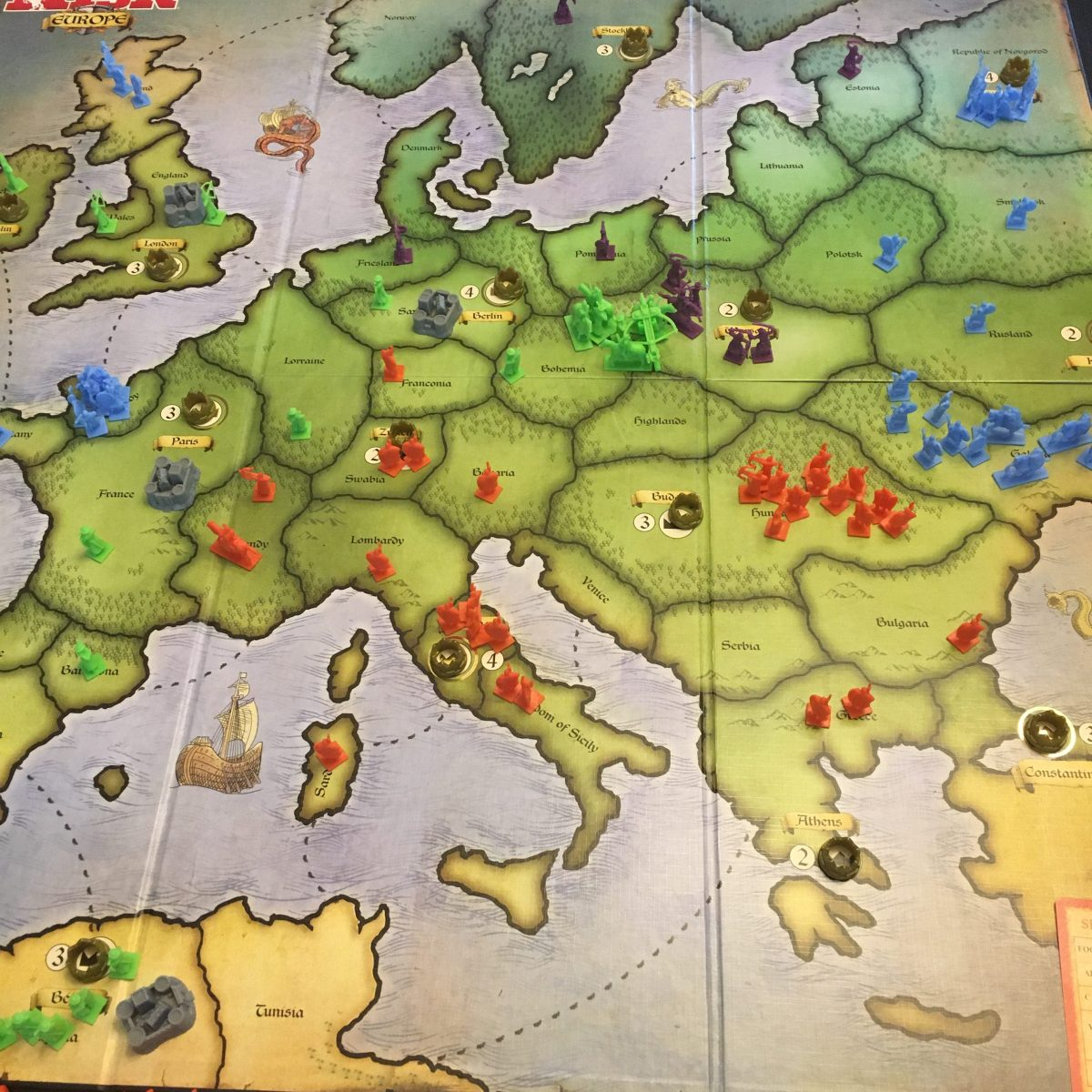 Turn 7 - Purple takes Warsaw, which might have been a mistake.