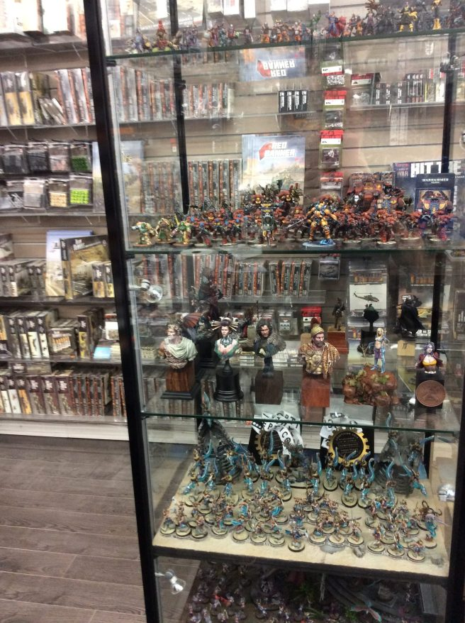 Painted miniatures in a glass cabinet