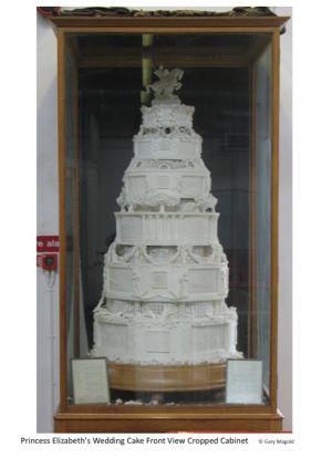Replica full sized cake in cabinet