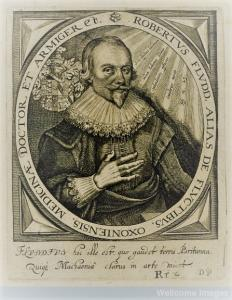 V0001945 Robert Fludd. Line engraving by T. de Bry, 1645, after M. Me