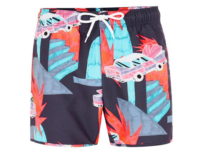 Topman Car Pattern Swim Shorts