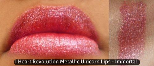 Makeup Revolution I Heart Revolution Metallic Unicorn Lips Immortal Swatch