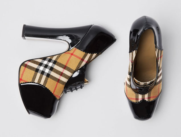 Vivienne Westwood and Burberry, Vintage Check and Patent Lace-up Platforms in Black