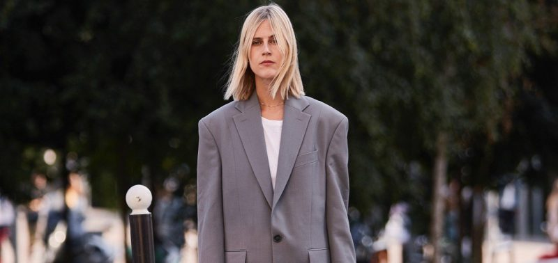 paris haute couture fall street style oversized gray blazer pleated black skirt Marquee landscape cropped