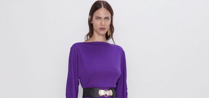 Zara Gathered Midi Dress Marquee landscape cropped