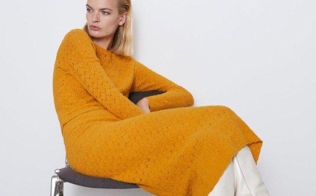 Zara Openwork Knit Skirt landscape cropped
