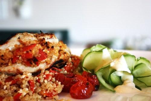 Roasted Red Pepper & Quinoa Stuffed Chicken Breast | bsinthekitchen.com