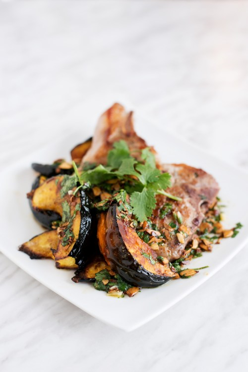 Pork Chop & Acorn Squash with Squash Seed Vinaigrette | bsinthekitchen.com #dinner #pork #bsinthekitchen