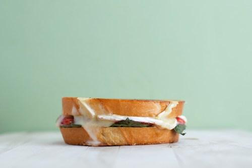 Strawberry, Balsamic, Basil, & Brie Grilled Cheese   bsinthekitchen.com #grilledcheese #sandwich #bsinthekitchen