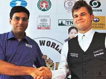 Viswanathan Anand with Norway's Magnus Carlsen