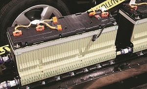 File photo of an automotive lithium-ion battery. Photo: Reuters