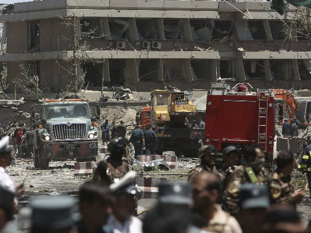 Security forces are seen in front of the German Embassy after a suicide attack in Kabul (Photo: AP/PTI)