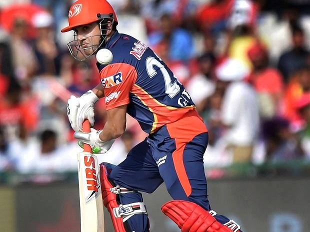 Delhi Daredevils (DD) captain Gautam Gambhir  plays a shot against Kings XI Punjab (KXIP) during an IPL match 2018 at IS Bindra Stadium in Mohali. Photo: PTI