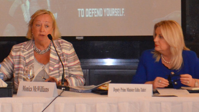 Monica McWilliams, founder of the Northern Ireland Women's Coalition (left) and Deputy Prime Minister of Kosovo Edita Tahiri (right) share their experiences with participants of a conference in Doha, Qatar, where Charter of the Syrian Women's Network was adopted by a diverse group of Syrian women representing the leading opposition movements in the country.(Photo from wdn.org)