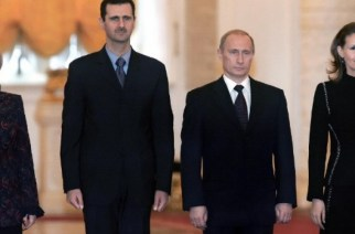 Syrian President Bashar al-Assad, Russian President Vladimir Putin, and their wives. (Photo/AFP)