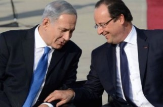 Prime Minister of Israel, Benjamin Netanyahu with French President François Hollande