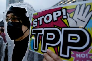 A 2014 protest in Tokyo against the Trans-Pacific Partnership agreement. (Shizuo Kambayashi / AP)