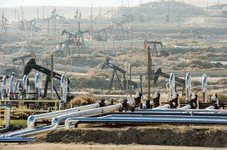 Pumpjacks extract oil from an oilfield in Kern County, CA. About 15 billion barrels of oil could be extracted using hydraulic fracturing in California.