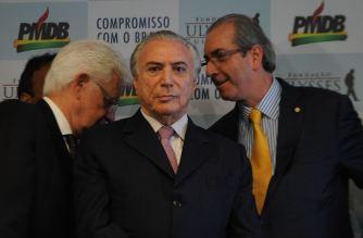 O ministro, Moreira Franco, o Vice Presidente Michel Temer, o presidente da Câmara, Eduardo Cunha, durante apresentação das Mídias Digitais do PMDB na Fundação Ulisses Guimarães (Antônio Cruz/Agência Brasil)